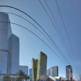 mening van Aria Hotel en het Stadscentrum in Las Vegas, Nevada in de loop van de dag stock foto
