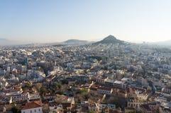 Mening van Athene van de Akropolis, Griekenland Stock Afbeelding