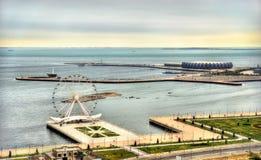 Mening van Baku kustboulevard stock foto