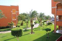 Mening van balkon, Caraïbische Wereld Soma Bay 5*, Egypte Royalty-vrije Stock Afbeelding