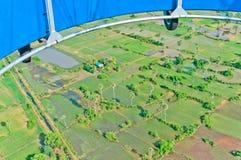 Mening van ballon van overstroomde gebieden in Kambodja Royalty-vrije Stock Foto's