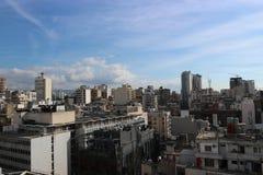 Mening van Beiroet vanaf de bovenkant van een gebouw in Hamra-Straat één van hoofd commerciële gebieden van de stad Royalty-vrije Stock Foto