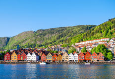 Mening van Bergen, Noorwegen in de loop van de dag Royalty-vrije Stock Afbeelding