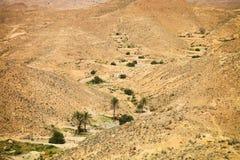Mening van bergoase Chebika, de woestijn van de Sahara, Tunesië Royalty-vrije Stock Fotografie