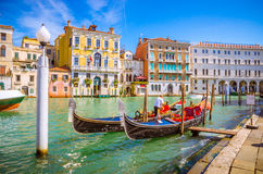 Mening van beroemd Grand Canal in Venetië, Italië stock afbeeldingen