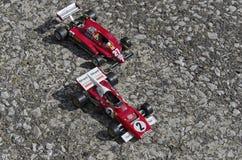Mening van beroemde Italiaanse sportwagens op het asfalt Royalty-vrije Stock Foto