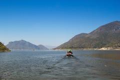 Mening van Bhumibol-Dam, Tak-provincie, Thailand Stock Foto