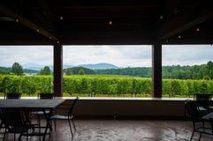 Mening van binnenuit Wijnmakerij Pavillion in Blauw Ridge Mountains Royalty-vrije Stock Foto's