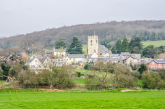Mening van Bodfari-Dorp, Denbighshire, Wales Stock Foto