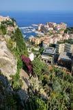 Mening van botanisch tuin en Fontvieille-kwart in Monaco stock foto