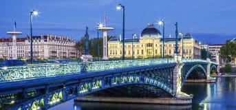 Mening van brug en Universiteit in Lyon stock foto's