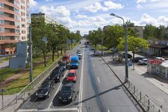 Mening van Budapeshtskaya-Straat, zonnige Augustus-middag, Heilige Petersburg stock afbeeldingen