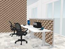 Mening van bureauruimte met behang op de achtergrond vector illustratie