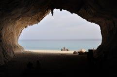 Mening van Cala Luna Cave Stock Foto