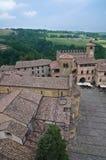 Mening van Castell'arquato. Emilia-Romagna. Italië. stock afbeeldingen