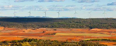Mening van Castilla La Mancha, Spanje bij de winter Royalty-vrije Stock Fotografie