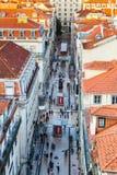 Mening van centraal deel Lissabon van hierboven, Portugal stock foto's