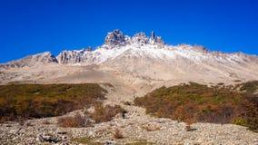 Mening van Cerro Castillo in Carretera zuidelijk in Chili - Patagonië royalty-vrije stock foto's