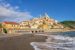 Mening van Cervo stad van het strand, Ligurië, Italië Stock Foto