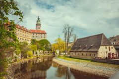 Mening van Cesky Krumlov Bohemen, Tsjechische Republiek Royalty-vrije Stock Fotografie