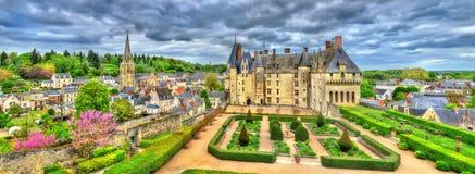Mening van Chateau DE Langeais, een kasteel in de de Loire-Vallei, Frankrijk stock fotografie