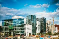 Mening van Cityscape in Oslo, Noorwegen Licht onduidelijk beeld in agent om motie te tonen Royalty-vrije Stock Fotografie