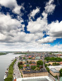 Mening van cityscape van Stockholm Stock Afbeelding