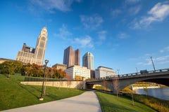 Mening van Columbus Ohio Skyline van de binnenstad stock foto's