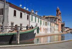 Mening van Comacchio, Ferrara, Emilia-Romagna, Italië royalty-vrije stock foto