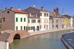 Mening van Comacchio, Ferrara, Emilia-Romagna, Italië Stock Afbeeldingen