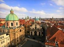 Mening van dak in Praag Royalty-vrije Stock Foto's