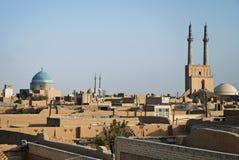 Mening van daken in yazd Iran royalty-vrije stock foto