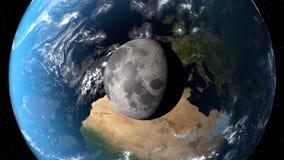 Mening van de aarde met maan van ruimte 3D teruggevende elementen van dit die beeld door NASA wordt geleverd Royalty-vrije Stock Afbeelding