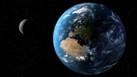 Mening van de aarde met maan van ruimte 3D teruggevende elementen van dit die beeld door NASA wordt geleverd Stock Foto's