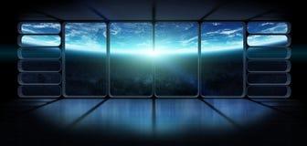 Mening van de aarde van een reusachtige 3D renderi van het ruimteschipvenster Stock Afbeeldingen