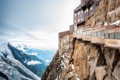 Mening van de Alpen van de berg van Aiguille du Midi. Stock Foto