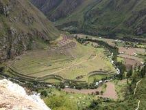 Mening van de archeologische plaats van Llaqtapata Royalty-vrije Stock Foto