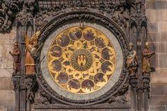 Mening van de astronomische klok in Praag royalty-vrije stock afbeeldingen