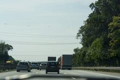 Mening van de A2 autosnelweg en Scholven-de steenkoolkrachtcentrale stock foto's