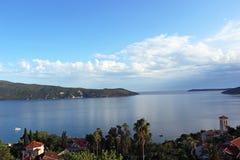 Mening van de Baai van Kotor en Herceg Novi Royalty-vrije Stock Fotografie