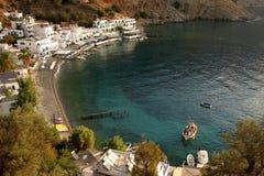 Mening van de baai van loutro op het eiland Kreta Stock Foto's