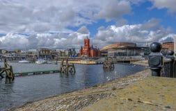 Mening van de Baaigebied van Cardiff met beroemde gebouwen, Pierhead en Zonde royalty-vrije stock afbeelding