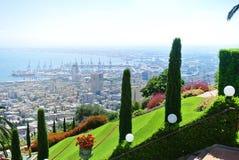 Mening van de Bahai-Tuinen Haifa Tourist Attractions israël stock foto