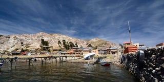 Mening van de belangrijkste pijler Comunidad Challapampa Isla del Sol Meer Titicaca bolivië Stock Afbeelding