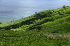 Mening van de berg aan het Overzees van Galilee Royalty-vrije Stock Foto's