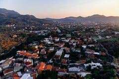 Mening van de bergen en de stad van Bar, Montenegro royalty-vrije stock foto's
