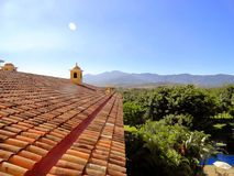 Mening van de bergen van een gebouw, Costa Rica Royalty-vrije Stock Afbeelding