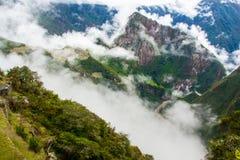 Mening van de bergen van Machu Picchu Royalty-vrije Stock Afbeeldingen