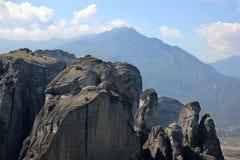 Mening van de bergvallei Mountain View thessaly Thessalybergen Kalambaka Valleimening Stock Foto
