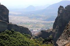 Mening van de bergvallei Mountain View thessaly Thessalybergen Kalambaka Valleimening Royalty-vrije Stock Afbeeldingen